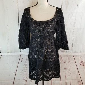 Laundry by Design Dress Sz M Black Lace Cover Up